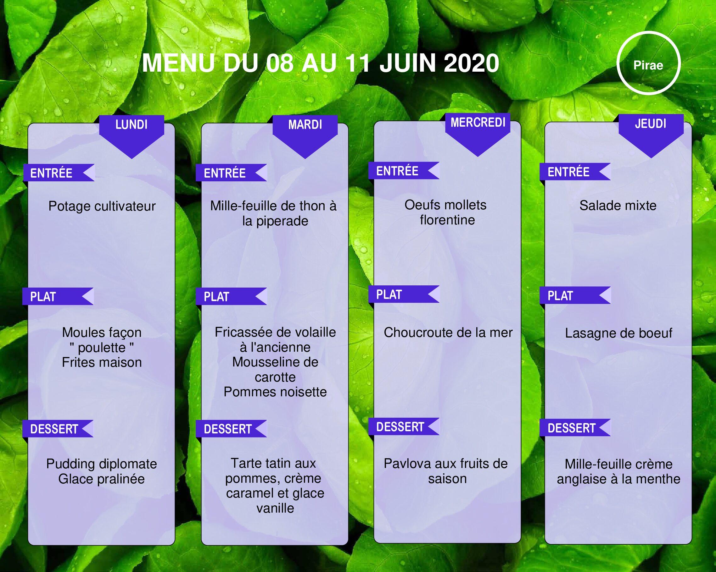 Menu du restaurant pédagogique de Pirae du 08 au 11 Juin 2020
