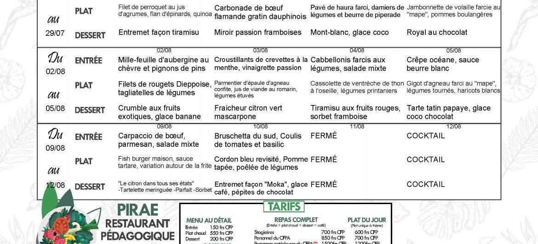 Menu du restaurant pédagogique de Pirae du 26 Juillet au 12 Aout 2021